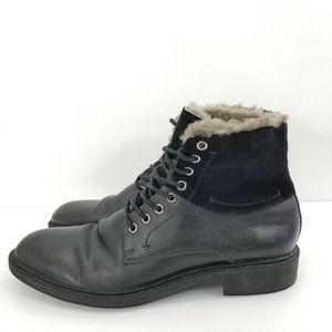Robert Wayne Shearling Lined BLAZE Boots Mens 11 D Black Leather Lace Up Casual
